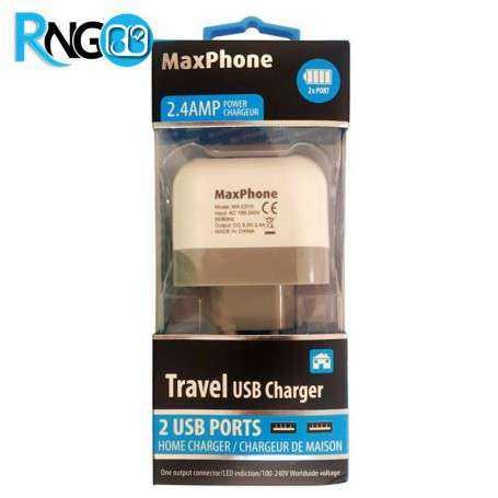 آداپتور 5V-2.4A با دو خروجی USB مارک Maxphone