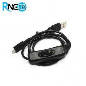 کابل USB به USB-Micro تغذیه رزبری پای مجهز به کلید On/Off